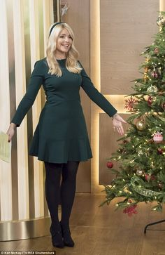 Holly Willoughby puts on a festive display in sexy green mini dress Holly Willoughby Legs, Holly Willoughby Outfits, Zooey Deschanel, Fall Outfits, Fashion Outfits, Fashion Clothes, Tights Outfit, In Pantyhose, Pantyhose Outfits