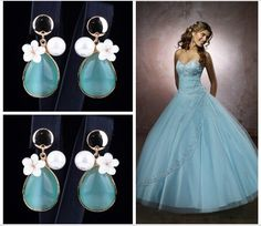 RAFFAELLA - Teal Turquoise Crystal Earrings
