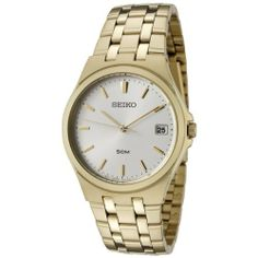 Seiko Men's SGEF14P1 Silver Dial Gold-Tone Stainless Steel Watch Seiko. $80.99. Silver dial with gold tone hands and hour markers. Water-resistant to 165 feet (50 M). Date function. Japanese Quartz Movement. Hardlex mineral crystal crystal; brushed and polished gold tone stainless steel case and bracelet. Save 68%!