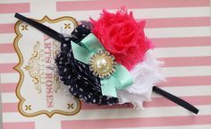 Pink n Navy Aqua Baby Headband..Shabby Chic Baby Headband.Newborn Headband..Infant.Vintage Inspired Baby Girl Headband..15% Off ur order. on Etsy, $9.95