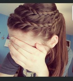 Athletic hair\\ double lace braid hair hair, hair styles, at Athletic Hairstyles, Pretty Hairstyles, Braided Hairstyles, Girl Hairstyles, School Hairstyles, Updo Hairstyle, Braided Updo, Wedding Hairstyles, Braided Cheer Hair