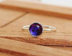 Real Butterfly Wing Sterling Silver Stack Ring 8mm by Athenianaire, $26.99