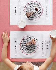 Parents know what a lifesaver those kid-friendly paper place mats—mazes, connect the dots, word-finder puzzles—can be at a restaurant. Here's a more updated (read: attractive) interpretation of that idea, perfect for a dedicated children's table at your reception.