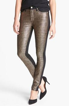 7 For All Mankind® 'Malhia Kent - The Pieced Skinny' Jacquard Jeans (Egyptian Gold Tweed) | Nordstrom