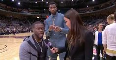 Andre Drummond videobombs Kevin Hart's sideline interview...: Andre Drummond videobombs Kevin Hart's sideline interview in… #KevinHart