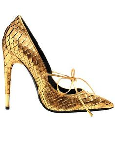 Gold snake-skin lace-up
