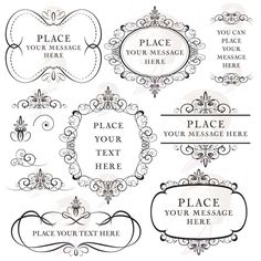Vintage Flourish Frames Clip Art Digital Flourishes Clipart DIY Weddi ...