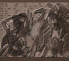 Gilgamesh and Enkidu VS Gugalanna by Garudeyamantra.deviantart.com on @DeviantArt