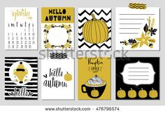 Collection of autumn cards and other typography flyer template with lettering. Bright fall leaves and pumpkin. Poster, calendar, note, label, schedule, planner, banner design set.Vector illustration.