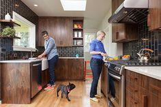 Tile—Heath Ceramics, color: gunmetal Cabinetry—Oregon Black Walnut; architect-designed Floors—Oak, to match existing at the rest of the hous...