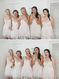 """A """"first look"""" with the bridesmaids."""
