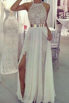 Sexy White Long Prom Dresses, Halter Lace Formal Evening Gowns, Chiffon Sashes / Ribbons Party Dress