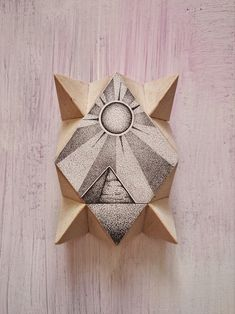 Sun and Pyramid Hand Stippled Wooden Hanging Golden Ring, Wooden Shapes, Moon Print, Linseed Oil, Stippling, Wooden Walls, Diamond Shapes, Really Cool Stuff, Balloons