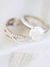 simple engagement ring band and diamond wedding band. love this, the wedding band is the three band cross, for husband, wife, and God.