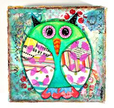Art Original Painting Shabby Chic Owl on Etsy