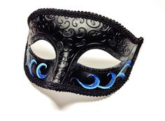 Masquerade Mask for Men, Black and Blue Mardi Gras Masks for Parties and Halloween by HigginsCreek on Etsy