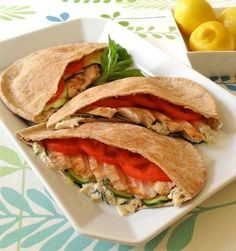 Chicken pita - perfect for a low calorie healthy lunch. Click for recipe