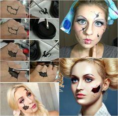 maquillage Halloween poupée avec une blessure artificielle étape par étape