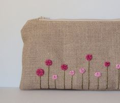 Rose Garden Burlap Hand Embroidered Zipper Clutch in Pink Fuchsia - Peony Spring Garden