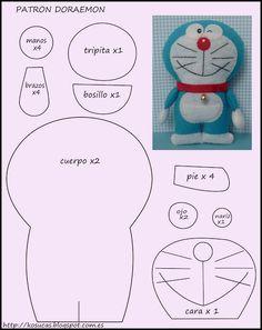 Patrón Doraemon de fieltro. Felt Doraemon pattern