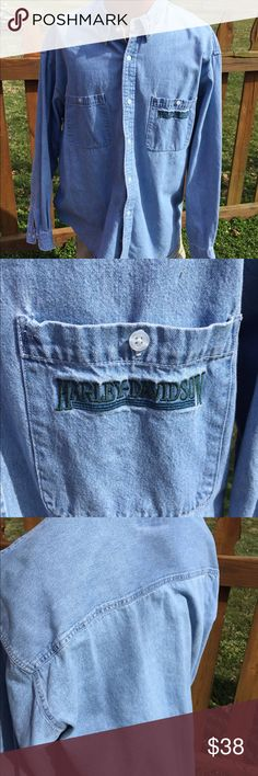 """Harley Davidson Mens Denim Shirt Size 3XL Size 3XL. Super gently preowned. Measures: shoulder to shoulder: 22.5"""". Pit to pit. 26"""". Be sure to view the other items in our closet. We offer both women's and Mens items in a variety of sizes. Bundle and save!! Thank you for viewing our item!! Harley-Davidson Shirts Casual Button Down Shirts"""