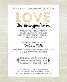 Skin Care Party Invite DIGITAL JPG ONLY by KatesKanvas on Etsy, $8.00 Rodan & Fields