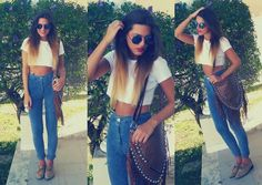 Hipster Outfit (High Waisted Pants) Ombre Hair & Top Crop Shirt