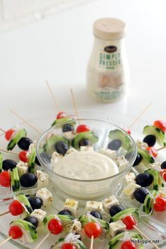 Perfect for baby showers. Greek salad bites - recipe via NoBiggie.net