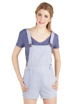 Festival Founder Overalls. You were lucky enough to make music your livelihood, and now youre enjoying the fruits of your labor in these gingham overalls! #blue #modcloth