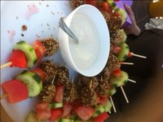 #Falafel on skewers makes for great canapes