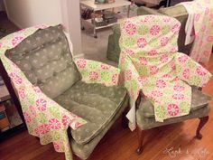 Sewing slipcovers, by Lark & Lola