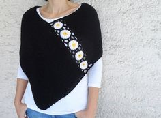 Hand Knitted Black Poncho with Daisy Flowers by bysweetmom on Etsy