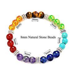 Elastic Stretch 7 Chakras Gemstone Healing Balancing Round Beads Bracelet