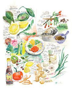 Die fünf Geschmacksrichtungen in der chinesischen Küche - Küche-Drucken - Essen Kunst - 8 X 10 Gemüse Poster - Aquarell Illustration - Home ...