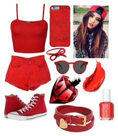 Rainbow tag: Red by genevieve-belisle on Polyvore featuring WearAll, Converse, Valentino, Areaware, Illesteva and Essie