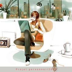 working girl illustration   by sophie griotto
