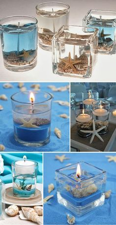 stunning beach themed candle wedding favors