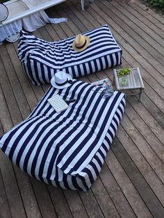 Outdoor Bean Bag, navy blue and white stripes, pouf chair, outdoor furniture, floor pillow, floor cushion, outdoor beanbag cover