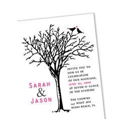 Love Birds on Tree Wedding Invitation / DIY Custom Digital Template / Printable Card / No 39