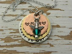 MOM or DAD Forever In Our Hearts - hand stamped - distressed copper si - Whispering Metalworks