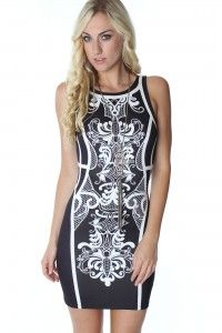 B&W Scroll Bodycon Dress available at www.SophieandTrey.com shop online with code 'STMEGAN10' & get 10% off your purchase of $50 or more!!  Follow @Sophie & Trey & @megannnclary on Instagram!