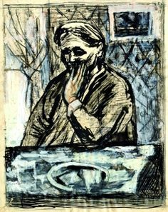 Will Barnet, My Mother, 1930, pen & ink, ink wash, gouache, charcoal