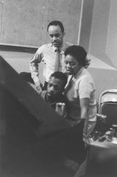 Ernie Wilkins, Dinah Washington, and Kenny Drew, recording studio, New York, 1955 Photo by Milt Hinton