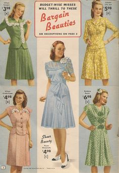 Pretty summer dresses in cotton and rayon from National Bellas Hess. Not much has changed, fashion-wise, since World War II ended a ye. Moda Vintage, Vintage Mode, Vintage Outfits, Vintage Dresses, 1940s Fashion, Vintage Fashion, Edwardian Fashion, 40s Mode, Pretty Summer Dresses