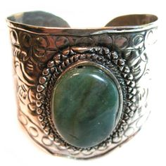 *SOLD* VINTAGE ESTATE Old SILVER Plated? METAL Etched Jade GREEN Stone CUFF BRACELET $1 sorry SOLD .. we sell more WOMENS VINTAGE JEWELRIES at http://www.TropicalFeel.com