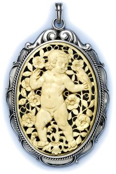 Art Nouveau Carved Ivory Of A Child In A Garden And Sterling Silver Pendant Necklace - Albert Holbein