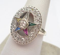 14kt Diamond 5pt Eastern Star Ring by KlinesJewelry on Etsy, $475.00