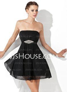Homecoming Dresses - $87.99 - A-Line/Princess Strapless Short/Mini Chiffon Homecoming Dress With Ruffle Beading (022021069) http://jjshouse.com/A-Line-Princess-Strapless-Short-Mini-Chiffon-Homecoming-Dress-With-Ruffle-Beading-022021069-g21069