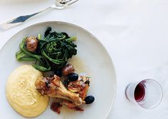 Roast chicken, polenta and broccoli rabe A Tuscan Family Feast from gourmet.com