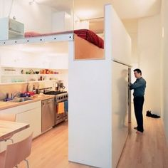 It's not just for kids anymore! If you have high-enough ceilings, you can maximize space by creating a second-level! I love that the support wall here doubles as a closet. If plastic isn't your thing, check out this pretty wooden lofted bed on Pinterest.